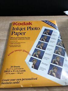 Kodak inkjet Photo Paper Micro-perforated For Ten Business Cards Per Sheet