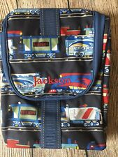 Pottery Barn Kids Blue Trains Print Toiletry Travel Bag Jackson New Htf!
