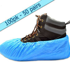 100 Premium Blue Disposable Overshoes Shoe Covers - 3.5g - Embossed