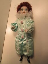 Girl Clown Doll (Red-Head)- Mint-quality, P0Rcelain - hand-made -Lt Green Outfit