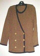 Black/Camel Houndstooth Double Breasted Cardigan Sweater Small NEW