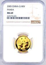 2005 China 100 Yuan 1/4 oz. .999 Fine Gold Panda Coin NGC Graded MS69 100Y