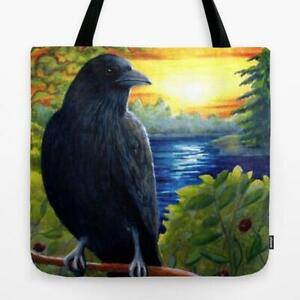 Tote Bag All over print Bird 63 Crow Raven art painting by L.Dumas
