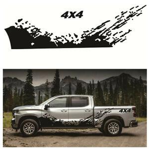 Car Pickup Side Door Splash Decal 4X4 Off Road Graphics Vinyl Sticker Black 2Pcs