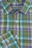ETRO Men's Green Purple Check Luxury Cotton Casual Shirt L Large