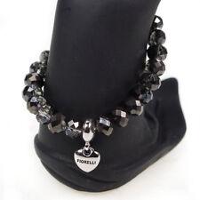 Fiorelli Drop Heart Charm Hematite Grey Beaded Womens Ladies Stretch Bracelet