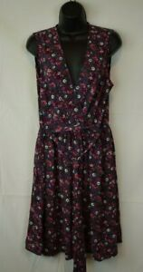 Xhilaration - Blue Floral V Neck Surplice Sleeveless Keyhole Mini Dress Size L