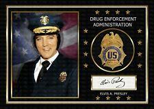 More details for elvis presley - dea - police badge - signed original a4 photo print memorabilia