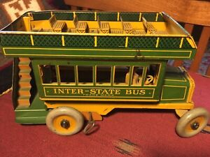 "Vintage Ferdinand Strauss ""Interstate Bus"" #98 Tin Windup Lithographed Toy"