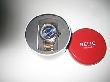 Relic ZR15723 Women's Gold Tone Stainless Steel Watch w/Blue Face Retail $120