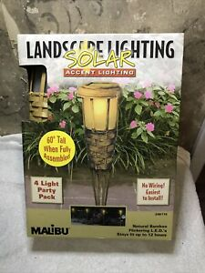 "4 Pk Malibu Solar Flickering Amber Bamboo Tiki Torch Landscape Light 60"" Tall"