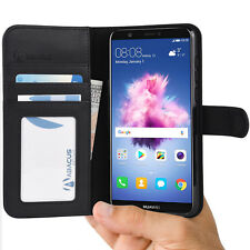 Black Wallet Case Flip Cover W/ Stand for Huawei P Smart - by Abacus24-7