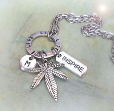 tiMarijuana Live Life Inspire Charm Necklace, Cannabis, Pot, Weed w-Letter Charm