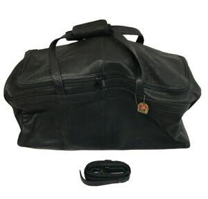 "Piel Leather   Travel Duffle Bag in Black   20"" x 12"" x 12""   #8867"