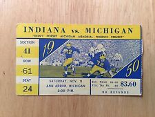 Indiana Vs. Michigan Football 1950 Ticket Stub NCAA