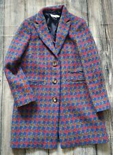 Rare Boden Wool Coat Herringbone Blue Multi Size 14