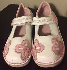 Stride Rite Cynthia Toddler Girl Shoes Mary Janes 11.5M White Pink Flowers