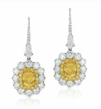 9ct Vivid Yellow Cushion Dangle Earrings White 925 Sterling Silver Bridal Jewel