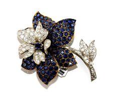 Round Blue Sapphire & Diamond Flower Cluster Pin Brooch 18k White Gold 15.70Ct