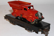 1930's Marx O Gauge Flat Car with Streamline Dump Truck, Red, Restored