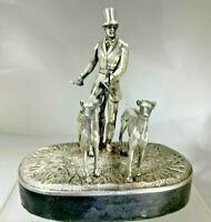 """Very Rare Georgian 1800's Silver """"The Lord with His Greyhounds"""" Statue/Figurine"""