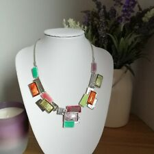 Ikita Silver Tone Multi Coloured Enamel Link Sections Costume Short Necklace