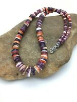 Native American Navajo Orange Purple Spiny Oyster Sterling Necklace 20in 2775