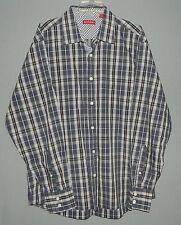 Men's Reunion LS Button Dress Shirt-XL-100% Cotton-Bluish Purple Plaid-Sharp