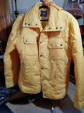 Women's Vintage Continental Gold Line Puffer Fill Down Jacket XL Yellow