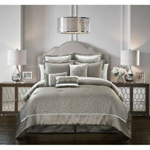 Luxurious Silver Grey Jacquard Medallion King Queen 9 pcs Down Alt Comforter Set