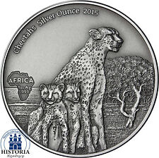 Gabun 1000 Francs CFA Silber 2015 Antique Finish Gepard Cheetahs Silver Ounce