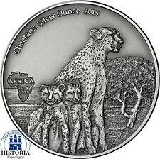 Gabun 1000 Francs CFA Silber 2015 Antique Finish Gepard Cheetahs Silver Ounce