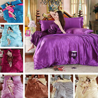HOt Silk Satin Twin Queen King Size Duvet Cover Pillowcase Bed Sheet Bedding Set