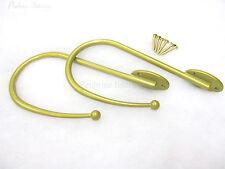 Paire de laiton métallique embrasses pour rideaux doré laitonné lisse mince