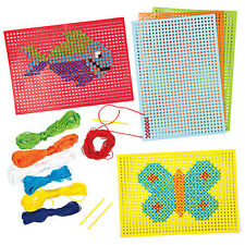 SALE! Cross Stitch Kits for Children to Design Sew Gift & Display (Pck 6) Age 5+