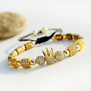 18kt Gold Plated Beads Bracelet Imperial Crown King CZ Hematite Bracelet Jewelry