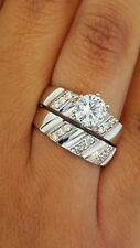 His Her Mens Woman Diamonds Wedding Ring Bands Trio Bridal Set 14k White Gold