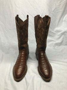 Tony Lama Men's Caiman Cowboy Boots Alligator Crocodile Belly 10.5 EE Western
