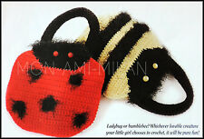 Crochet Pattern • LADYBIRD & BUMBLE BEE HANDBAGS • GIRLS • CHILDS • EASY MAKE