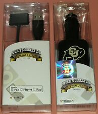 Tribeca Twin USB car charger  iPhone 4/iPad Charge & Sync cable, CU Buffalo logo