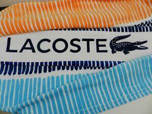 "Lacoste Oversized Beach Pool Bath Towel 100% Cotton 36""x72"" Cocktail Blue NWT"