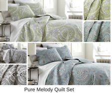 Premium Quality Lightweight Embroidered Paisley Printed 3-Piece Quilt Set