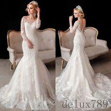 Mermaid WhiteIvory Applique Backless Wedding 3/4 Sleeve Bridal Gown Custom Dress