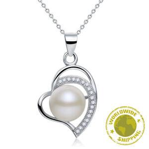 Fresh Water Pearl Heart Necklace CZ Luxury 925 Sterling Silver Jewellery