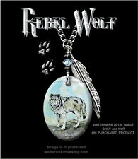 Rebel Wolf Necklace For Male Or Female - Wild Wolves Montana Art - Free Ship C*
