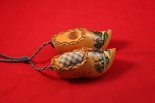 """Vintage Decorative Holland 3"""" Wooden Shoes Hand crafted Holland Used"""