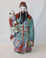 """Hand Painted Ceramic Large Chinese Statue Wisdom God with Kid Vtg China 13.5"""""""