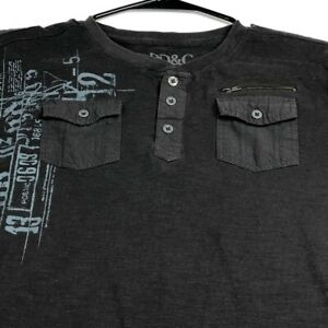 PD&C Boy's Short Sleeve T Shirt Large 14 16 Brown Graphic Pockets Multicolor