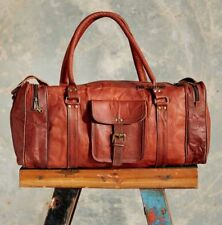 Goat Leather Bag Weekend Men Duffle Gym Travel Luggage 24 Overnight Sport Brown