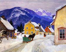 Gagnon Clarence Laurentian Village Canvas 16 x 20    #3294